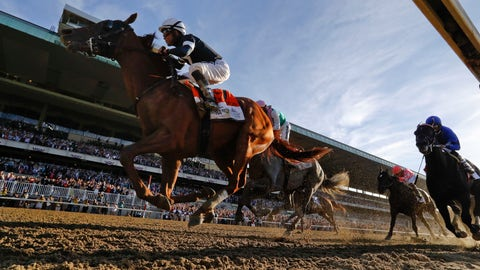 <p>               Sir Winston (7), with jockey Joel Rosario up, crosses the finish line to win the 151st running of the Belmont Stakes horse race, Saturday, June 8, 2019, in Elmont, N.Y. (AP Photo/Seth Wenig)             </p>