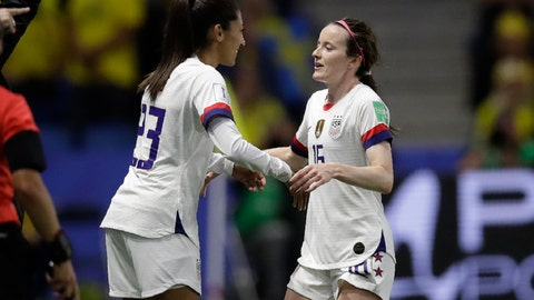 <p>               United States' Rose Lavelle, right, is substituted by teammate Christen Press during the Women's World Cup Group F soccer match between Sweden and the United States at Stade Océane, in Le Havre, France, Thursday, June 20, 2019. (AP Photo/Alessandra Tarantino)             </p>