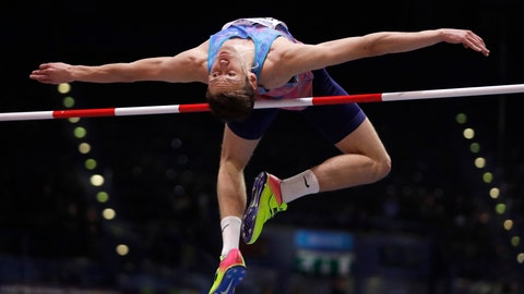 <p>               FILE - In this file photo dated Thursday, March 1, 2018, Russia's Danil Lysenko makes an attempt in the men's high jump final at the World Athletics Indoor Championships in Birmingham, England.  British newspaper The Sunday Times reported Sunday June 2, 2019, that documents from a fake clinic were filed to the Athletics Integrity Unit, which investigates doping cases, as evidence showing that Russia's athlete Danil Lysenko was too ill to update anti-doping officials on his whereabouts. (AP Photo/Matt Dunham, FILE)             </p>