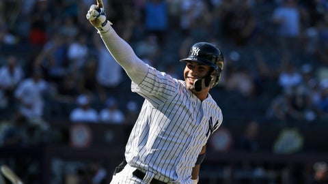 <p>               New York Yankees' Gleyber Torres reacts after hitting a walk-off RBI single during the ninth inning of a baseball game at Yankee Stadium, Wednesday, June 26, 2019, in New York. The Yankees defeated the Blue Jays 8-7. (AP Photo/Seth Wenig)             </p>