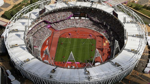 <p>               FILE - In this Aug. 3, 2012, file photo, Olympic Stadium is viewed during the Summer Olympics at Olympic Park in London. The traditional rivalry New York Yankees and the Boston Red Sox will take a radical twist when they meet in London next month: They will play on artificial turf for the first time in more than 2,200 games over a century. Major League Baseball has access to Olympic Stadium for 21 days before the games on June 29 and 30, the sport's first regular-season contests in Europe, and just five days after to clear out. (AP Photo/Jeff J Mitchell, Pool, File)             </p>