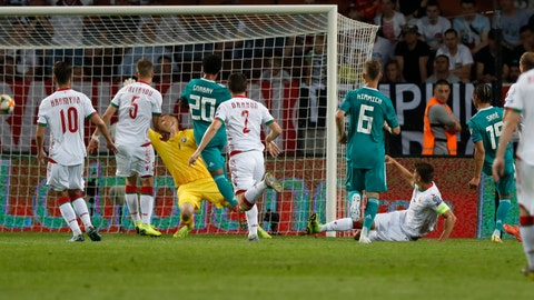 <p>               Germany's Leroy Sane, right, scores his side's first goal past Belarus' goalkeeper Aleksandr Gutor during the Euro 2020 group C qualifying soccer match between Belarus and Germany at the Borisov-Arena in Borisov, Belarus, Saturday, June 8, 2019. (AP Photo/Mindaugas Kulbis)             </p>