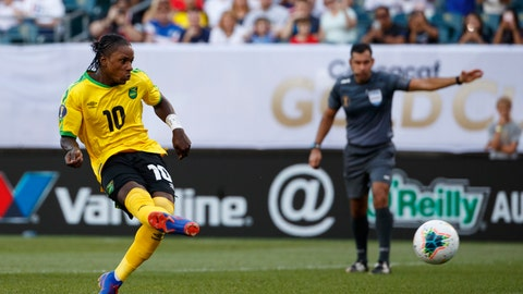 <p>               Jamaica's Darren Mattocks makes a goal on a penalty kick during the second half of a CONCACAF Gold Cup soccer match against Panama, Sunday, June 30, 2019, in Philadelphia. (AP Photo/Matt Slocum)             </p>