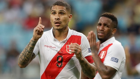 <p>               Peru's Paolo Guerrero reacts after the referee annulled a goal by teammate Jefferson Farfan, background, during a Copa America Group A soccer match against Venezuela at the Arena do Gremio stadium in Porto Alegre, Brazil, Saturday, June 15, 2019. (AP Photo/Andre Penner)             </p>