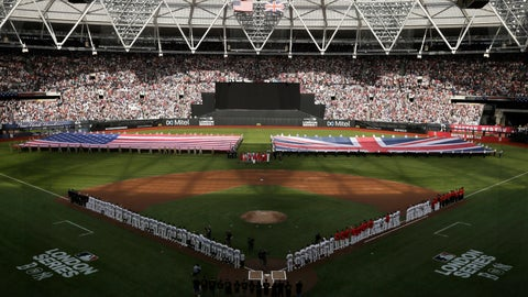 <p>               Boston Red Sox and New York Yankees players line up as flags are unfurled before a baseball game, Saturday, June 29, 2019, in London. Major League Baseball made its European debut game Saturday at London Stadium. (AP Photo/Tim Ireland)             </p>