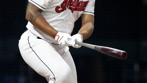 <p>               Cleveland Indians' Bobby Bradley watches his ball after hitting a one-run double in the sixth inning in a baseball game against the Kansas City Royals, Monday, June 24, 2019, in Cleveland. Jose Ramirez scored on the play. (AP Photo/Tony Dejak)             </p>