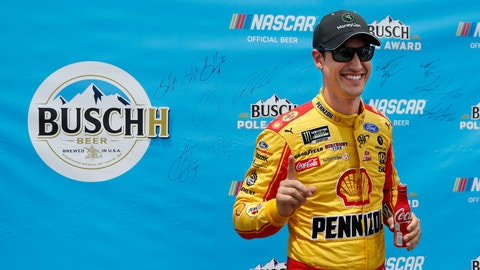 <p>               Joey Logano signals No. 1 during the pole award presentation after qualifying for the NASCAR cup series race at Michigan International Speedway, Saturday, June 8, 2019, in Brooklyn, Mich. (AP Photo/Carlos Osorio)             </p>