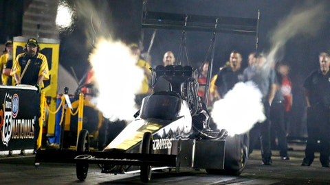 <p>               In this photo provided by the NHRA, Mike Salinas drives in Top Fuel qualifying Friday, May 31, 2019, for the Route 66 NHRA Nationals drag races at Route 66 Raceway in Joliet, Ill. (Jerry Foss/NHRA via AP)             </p>