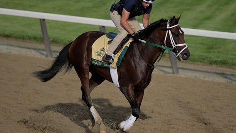 <p>               Exercise rider Jose Mejia rides Bourbon War during a workout at Belmont Park in Elmont, N.Y., Friday, June 7, 2019. The 151st Belmont Stakes horse race will be run on Saturday, June 8, 2019. (AP Photo/Seth Wenig)             </p>