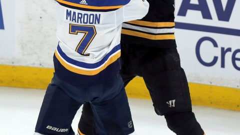 <p>               St. Louis Blues' Pat Maroon (7) tangles with Boston Bruins' Zdeno Chara, right, of Slovakia, during the first period in Game 7 of the NHL hockey Stanley Cup Final, Wednesday, June 12, 2019, in Boston. (AP Photo/Charles Krupa)             </p>