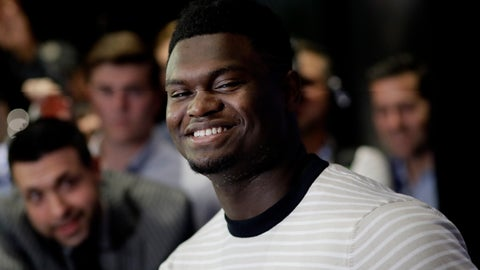 <p>               Zion Williamson, a freshman from Duke, attends the NBA Draft media availability, Wednesday, June 19, 2019 in New York. The basketball draft will be held Thursday, June 20. (AP Photo/Mark Lennihan)             </p>
