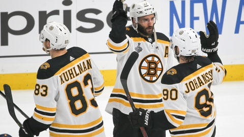 <p>               Boston Bruins center Patrice Bergeron (37) celebrates with Marcus Johansson (90), of Sweden, and Karson Kuhlman (83) after the Bruins beat the St. Louis Blues in Game 6 of the NHL hockey Stanley Cup Final Sunday, June 9, 2019, in St. Louis. The Bruins won 5-1 to even the series 3-3. (AP Photo/Scott Kane)             </p>