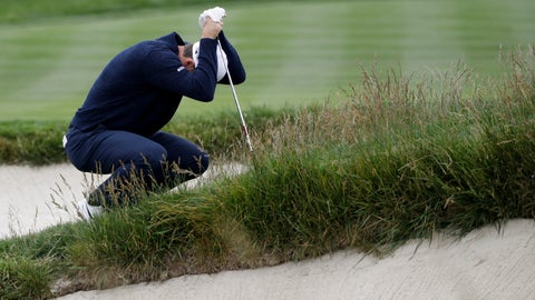 <p>               Justin Rose, of England, reacts to his bunker shot on the second hole during the final round of the U.S. Open Championship golf tournament Sunday, June 16, 2019, in Pebble Beach, Calif. (AP Photo/Marcio Jose Sanchez)             </p>