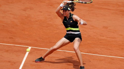 <p>               Britain's Johanna Konta plays a shot against Sloane Stephens of the U.S. during their quarterfinal match of the French Open tennis tournament at the Roland Garros stadium in Paris, Tuesday, June 4, 2019. (AP Photo/Jean-Francois Badias)             </p>