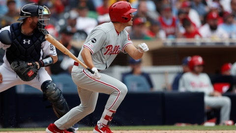 <p>               Philadelphia Phillies' Adam Haseley watches his RBI double during the eighth inning of the team's baseball game against the San Diego Padres, Wednesday, June 5, 2019, in San Diego. (AP Photo/Gregory Bull)             </p>