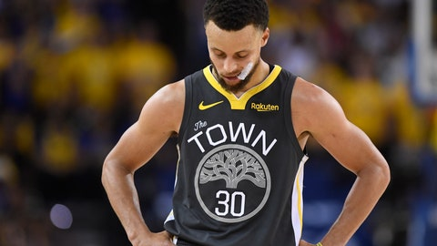 <p>               Golden State Warriors guard Stephen Curry looks down during the second half against the Toronto Raptors in Game 6 of basketball's NBA Finals, Thursday, June 13, 2019, in Oakland, Calif. (Frank Gunn/The Canadian Press via AP)             </p>