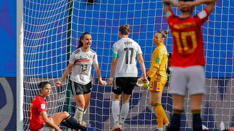 <p>               Germany's Sara Daebritz, top left, celebrates after scoring the opening goal during the Women's World Cup Group B soccer match between Spain and Germany at Stade du Hainau in Valenciennes, France, Wednesday, June 12, 2019. (AP Photo/Michel Spingler)             </p>