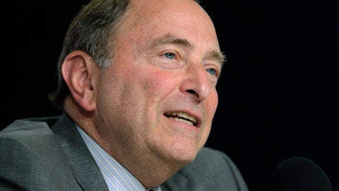 <p>               NHL Commissioner Gary Bettman speaks during a news conference before Game 5 of the NHL hockey Stanley Cup Final between the St. Louis Blues and the Boston Bruins, Thursday, June 6, 2019, in Boston, where Dunkin' brands announced a new multi-year agreement partnership with the National Hockey League. (AP Photo/Charles Krupa)             </p>