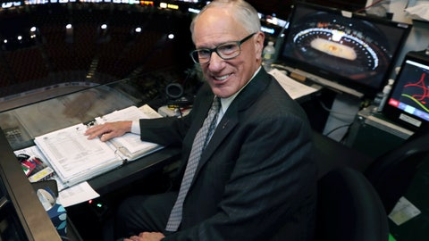 "<p>               In this Wednesday, May 29, 2019, photo, NBC hockey broadcaster Mike Emrick poses for a photo while preparing to call Game 2 of the NHL hockey Stanley Cup Final between the St. Louis Blues and the Boston Bruins in Boston. At 72, still calling games on the NHL's biggest stage, Emrick is in his prime and showing no signs of slowing down and stepping away from broadcasting the fastest game on ice. ""I really wanted to do it from the time I saw my first game, but a lot of people really want to do something and they don't get to,"" Emrick said. ""When you have a job like that, you're never working the rest of your life. So it's been 46 years. I don't know when it'll end. God only knows."" (AP Photo/Charles Krupa)             </p>"