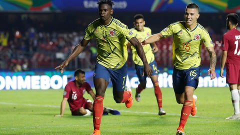 <p>               Colombia's Duvan Zapata, left, celebrates after scoring against Qatar with teammate Mateus Uribe during a Copa America Group B soccer match at the Morumbi stadium in Sao Paulo, Brazil, Wednesday, June 19, 2019. (AP Photo/Victor R. Caivano)             </p>