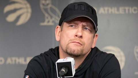 <p>               Toronto Raptors head coach Nick Nurse takes questions from the media in Toronto on Sunday, June 16, 2019. The Raptors defeated the Golden State Warriors in Game 6 of basketball's NBA Finals. (Chris Young/The Canadian Press via AP)             </p>
