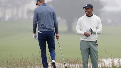 <p>               Jordan Spieth, left, walks off the 18th green as Tiger Woods looks on during a practice round for the U.S. Open Championship golf tournament Wednesday, June 12, 2019, in Pebble Beach, Calif. (AP Photo/Matt York)             </p>