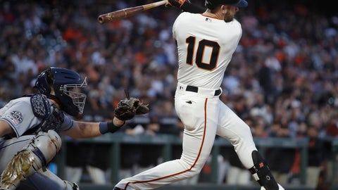 <p>               San Francisco Giants' Evan Longoria follows through on an RBI single during the fifth inning of the team's baseball game against the San Diego Padres on Wednesday, June 12, 2019, in San Francisco. (AP Photo/Ben Margot)             </p>