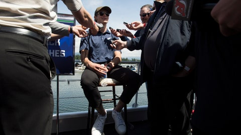 <p>               Top prospect Jack Hughes, of Orlando, Fla., speaks to the media during an NHL hockey draft top prospects media availability in Vancouver, British Columbia, Thursday, June 20, 2019. (Jonathan Hayward/The Canadian Press via AP)             </p>