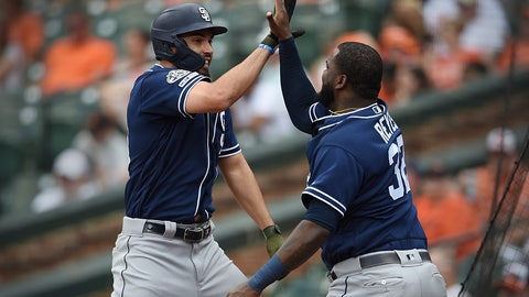 <p>               San Diego Padres' Eric Hosmer, left, is congratulated by Franmil Reyes after hitting a two run home run against the Baltimore Orioles in the sixth inning of a baseball game Wednesday, June 26, 2019, in Baltimore. (AP Photo/Gail Burton)             </p>