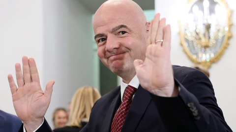 <p>               FIFA President Gianni Infantino gestures as he arrives to attend an awarding ceremony in the Kremlin in Moscow, Russia, Thursday, May 23, 2019. (Evgenia Novozhenina/Pool Photo via AP)             </p>
