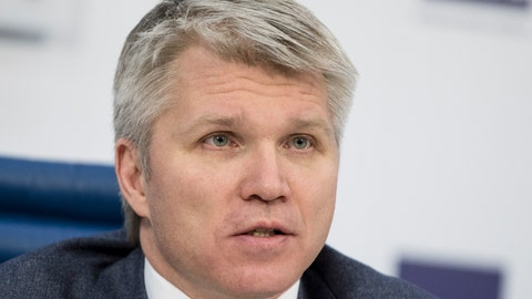 <p>               FILE - In this Monday, Feb. 5, 2018 file photo, Russia's Sport minister Pavel Kolobkov attends a press conference in Moscow, Russia. Russian Sports Minister Pavel Kolobkov said Thursday June 27, 2019, the country's track team has earned the right to be reinstated in time for the world championships despite another wave of doping cases. (AP Photo/Pavel Golovkin, File)             </p>