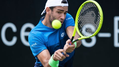 <p>               Italy's Matteo Berrettini returns the ball during his final match against Canada's Felix Auger-Aliassime at the ATP Tennis tournament in Stuttgart, Germany, June 16, 2019. (Silas Stein/dpa via AP)             </p>
