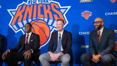 <p>               New York Knicks NBA basketball drafts picks RJ Barrett, left, Ignas Brazdeikis, center, and head coach David Fizdale smile during a news conference, Friday, June 21, 2019, at Madison Square Garden in New York. (AP Photo/Mary Altaffer)             </p>