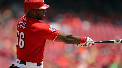 <p>               Cincinnati Reds' Yasiel Puig hits a solo home run in the second inning of a baseball game against the Houston Astros, Wednesday, June 19, 2019, in Cincinnati. (AP Photo/Aaron Doster)             </p>