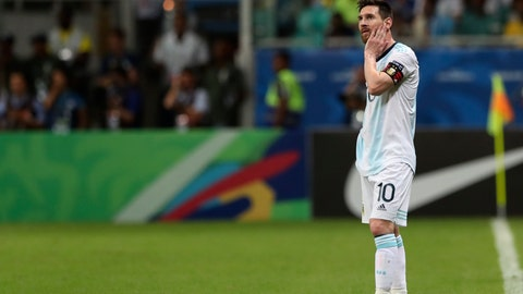 <p>               Argentina's Lionel Messi gestures during a Copa America Group B soccer match against Colombia at the Arena Fonte Nova in Salvador, Brazil, Saturday, June 15, 2019. (AP Photo/Ricardo Mazalan)             </p>