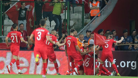 <p>               Turkey players celebrate after Cengiz Under scored a goal during the Euro 2020 Group H qualifying soccer match between Turkey and France in Konya, Turkey, Saturday June 8, 2019. (AP Photo)             </p>