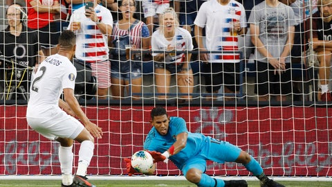<p>               Panama goalkeeper Jose Calderon (12) blocks a shot against the United States as defender Francisco Palacios (2) watches during the first half of a CONCACAF Gold Cup soccer match in Kansas City, Kan., Wednesday, June 26, 2019. (AP Photo/Colin E. Braley)             </p>
