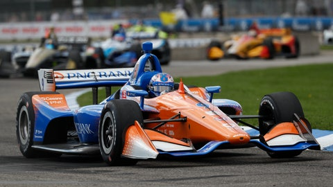 <p>               Scott Dixon, of New Zealand, races during the second race of the IndyCar Detroit Grand Prix auto racing doubleheader in Detroit, Sunday, June 2, 2019. (AP Photo/Paul Sancya)             </p>