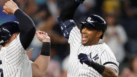<p>               New York Yankees' Aaron Hicks, right, celebrates with designated hitter Luke Voit, after they scored on Hicks' three-run home run during the fifth inning of a baseball game against the Toronto Blue Jays, Monday, June 24, 2019, in New York. (AP Photo/Kathy Willens)             </p>