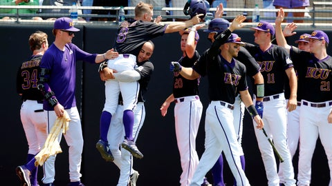 <p>               East Carolina's Turner Brown (8) is carried by Jake Kuchmaner (29) as he celebrates after scoring in the fifth inning against Campbell in an NCAA college baseball tournament regional game in Greenville, N.C., Monday, June 3, 2019. (Ethan Hyman/The News & Observer via AP)             </p>