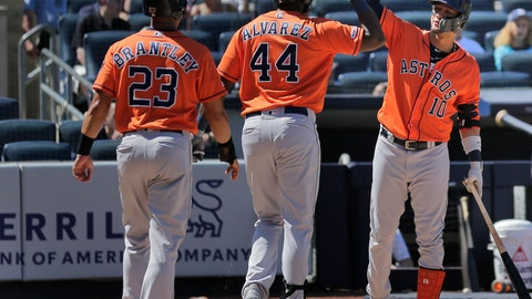 <p>               Houston Astros' Yordan Alvarez, center, celebrates his two-run home run with Yuli Gurriel, right, and Michael Brantley (23) during the fifth inning of a baseball game against the New York Yankees at Yankee Stadium, Sunday, June 23, 2019, in New York. (AP Photo/Seth Wenig)             </p>