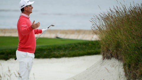 <p>               Justin Rose, of England, reacts to his bunker shot on the 18th hole during the first round of the U.S. Open Championship golf tournament Thursday, June 13, 2019, in Pebble Beach, Calif. (AP Photo/Matt York)             </p>