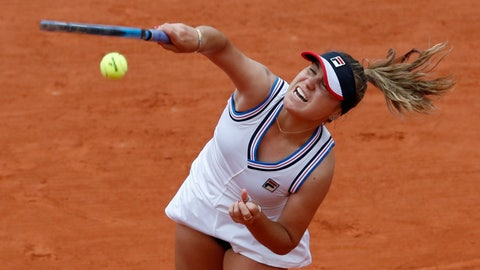 <p>               Sofia Kenin of the U.S. serves against Australia's Ashleigh Barty during their fourth round match of the French Open tennis tournament at the Roland Garros stadium in Paris, Monday, June 3, 2019. (AP Photo/Christophe Ena)             </p>
