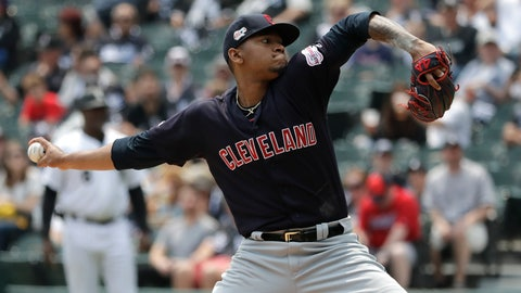 <p>               Cleveland Indians starting pitcher Jefry Rodriguez throws against the Chicago White Sox during the first inning of a baseball game in Chicago, Saturday, June 1, 2019. (AP Photo/Nam Y. Huh)             </p>