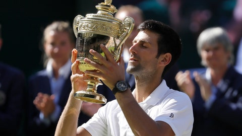 <p>               FILE - In this July 15, 2018, Serbia's Novak Djokovic lifts the trophy after winning the men's singles final against Kevin Anderson, of South Africa, at the Wimbledon Tennis Championships in London. Djokovic  will be competing in the 2019 Wimbledon tournament. (AP Photo/Kirsty Wigglesworth, File)             </p>