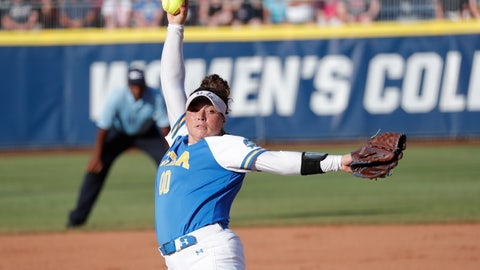 <p>               UCLA's Rachel Garcia pitches against Oklahoma in the first inning of the first game of the best-of-three championship series in the NCAA softball Women's College World Series in Oklahoma City, Monday, June 3, 2019. (AP Photo/Alonzo Adams)             </p>