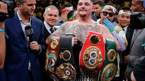 <p>               Andy Ruiz poses for photographs after a heavyweight title boxing match against Anthony Joshua on Saturday, June 1, 2019, in New York. Ruiz won in the seventh round. (AP Photo/Frank Franklin II)             </p>