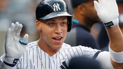 <p>               New York Yankees' Aaron Judge celebrates after hitting a solo home run during the first inning of the team's baseball game against the Toronto Blue Jays, Tuesday, June 25, 2019, in New York. It was Judge's first home run since returning from a stint on the injured list. (AP Photo/Kathy Willens)             </p>