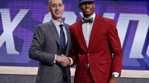<p>               NBA Commissioner Adam Silver poses for photographs with Texas Tech's Jarrett Culver after the Phoenix Suns selected him as the sixth pick overall in the NBA basketball draft Thursday, June 20, 2019, in New York. (AP Photo/Julio Cortez)             </p>
