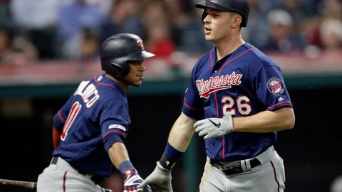 <p>               Minnesota Twins' Max Kepler, right, is congratulated by Jorge Polanco after Kepler hit a solo home run during the seventh inning of the team's baseball game against the Cleveland Indians, Thursday, June 6, 2019, in Cleveland. (AP Photo/Tony Dejak)             </p>